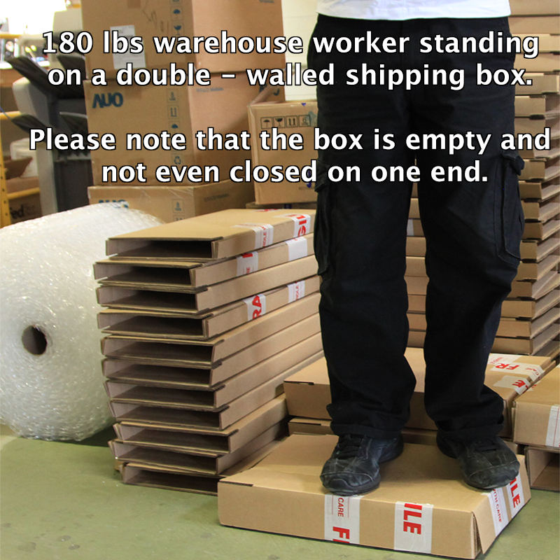 standing on a double-walled shipping box
