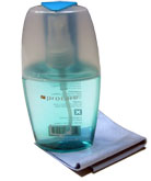 Outstanding Screen Cleaner 3.38 Oz Comes with blue cleaning liquid, and grey colored cloth.